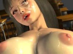 3Dエロアニメ ショートカット女教師が教室で男子生徒たちと乱交セックス フェラ&パイズリでザーメンをぶっかけられたあと、騎乗位&正常位で激しくピストンされてイキまくりw