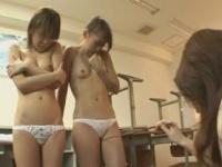 教え子の女生徒達に淫らな百合セックスを強要するドSなレズ女教師