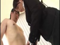 M男が巨乳OLに淫語責めをされ射精した後、更に亀頭責めされる