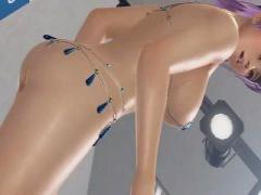 3Dエロアニメ ほぼ裸なデッドオアアライブのあやねの紐水着がエロすぎる…...
