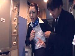 ナンパを断られた黒パンストCAを運航中の飛行機内で時間を止めて犯す