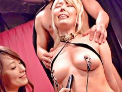 巨乳M女奴隷が陵辱調教ショーの餌食となり中出しSM調教にレズプレイでペニ...