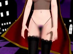 3Dエロアニメ 東方Projectのパチュリーがハロウィンコスプレで性的視線を...